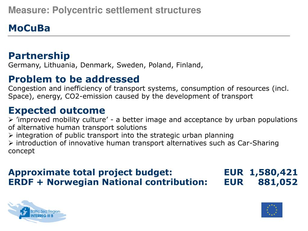 Measure: Polycentric settlement structures