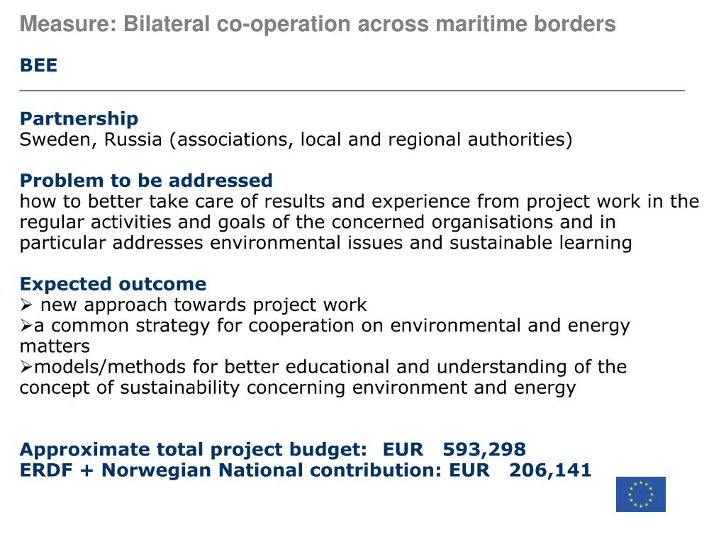 Measure: Bilateral co-operation across maritime borders