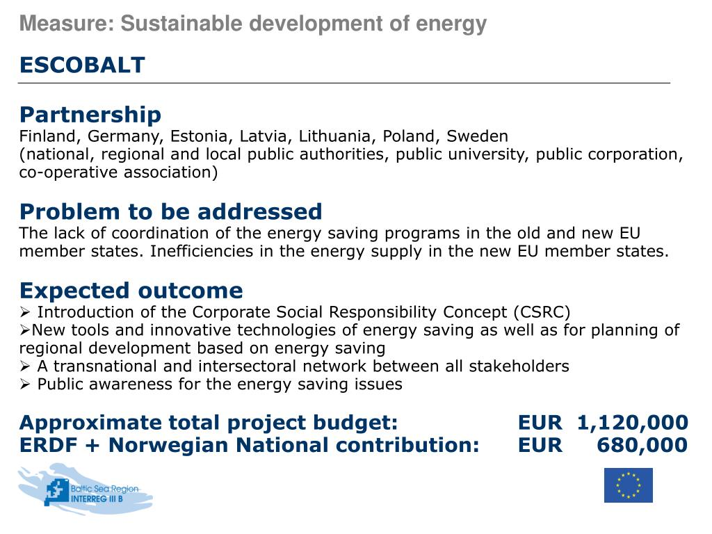 Measure: Sustainable development of energy
