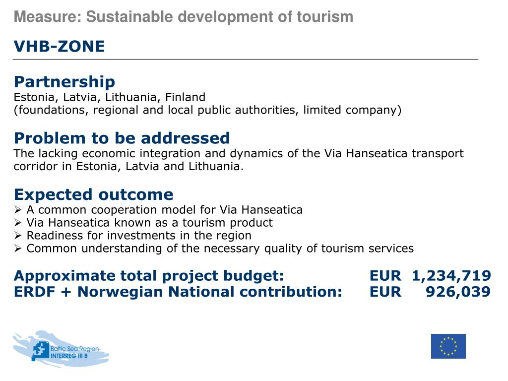 Measure: Sustainable development of tourism