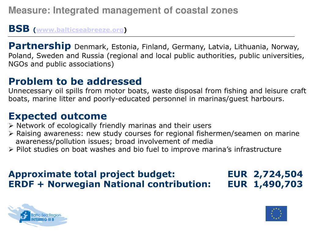 Measure: Integrated management of coastal zones