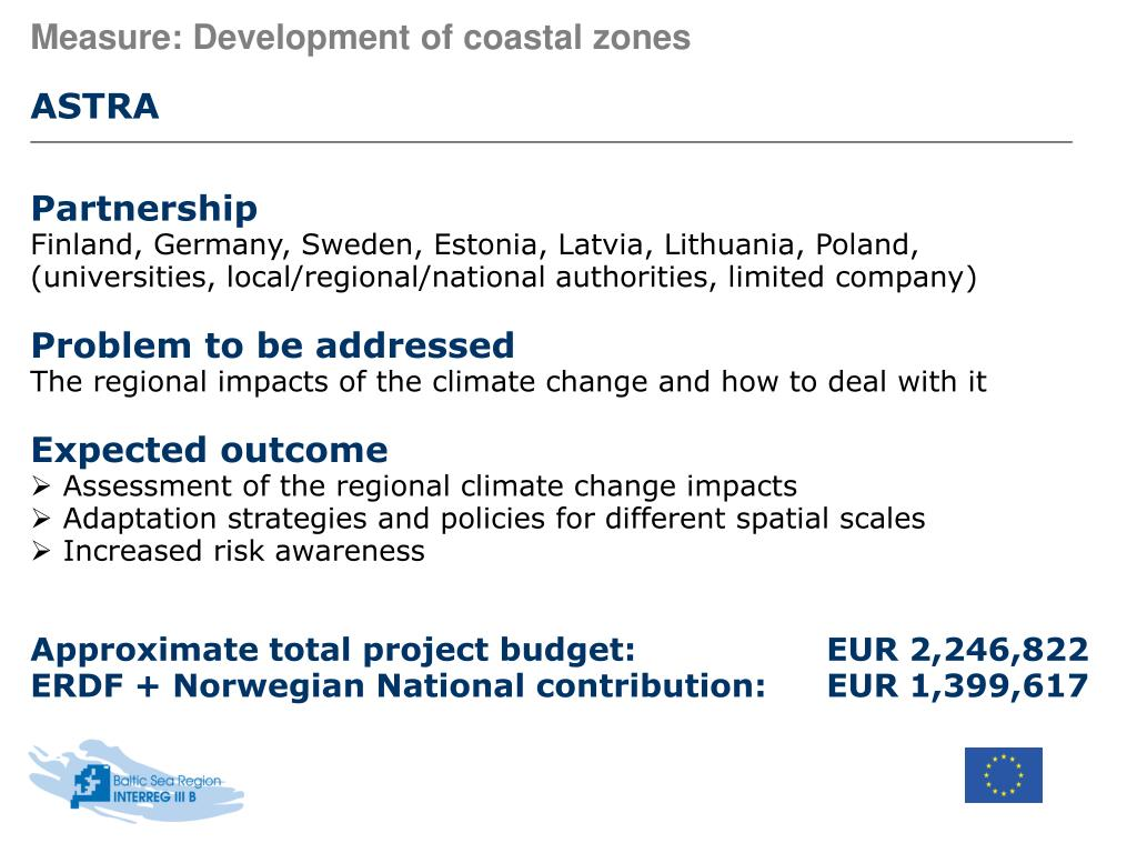 Measure: Development of coastal zones