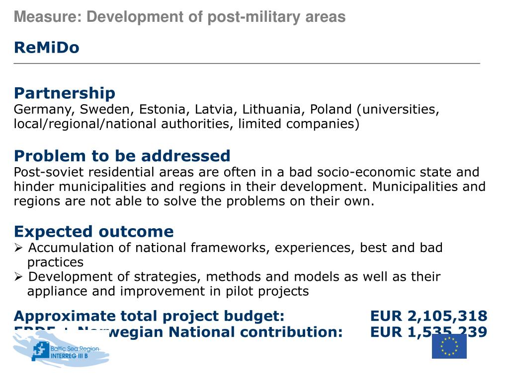 Measure: Development of post-military areas