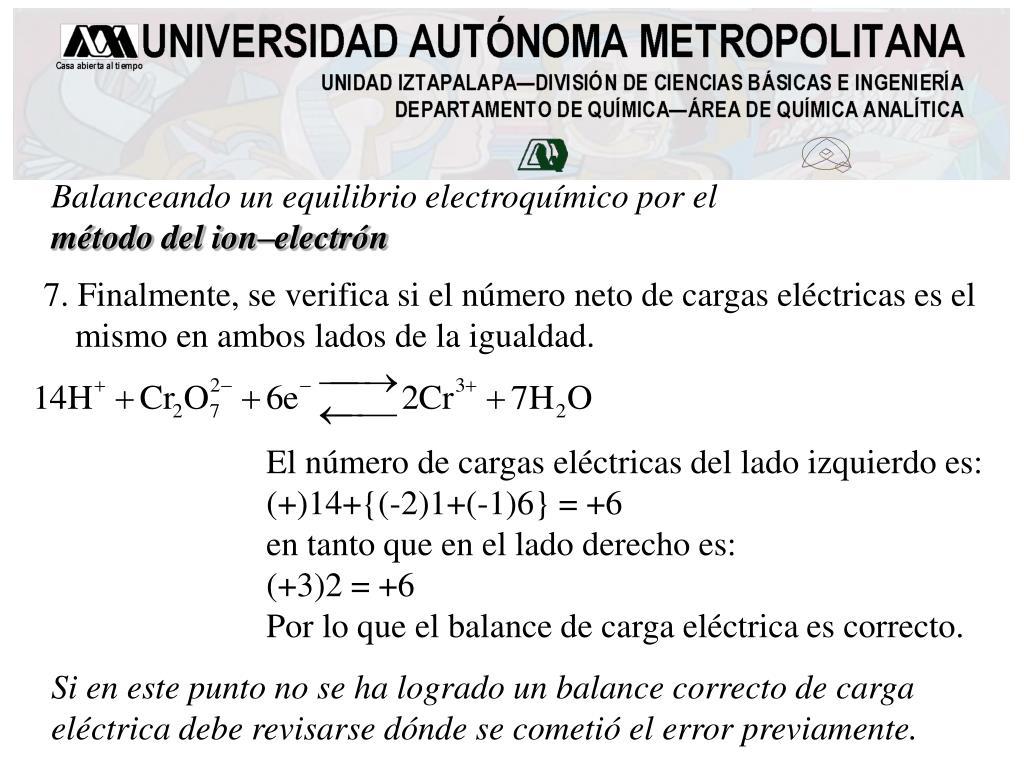 Balanceando un equilibrio electroquímico por el