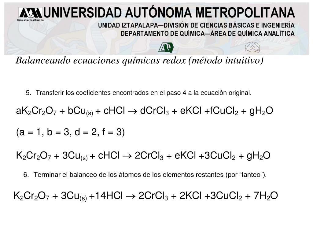 Balanceando ecuaciones químicas redox (método intuitivo)