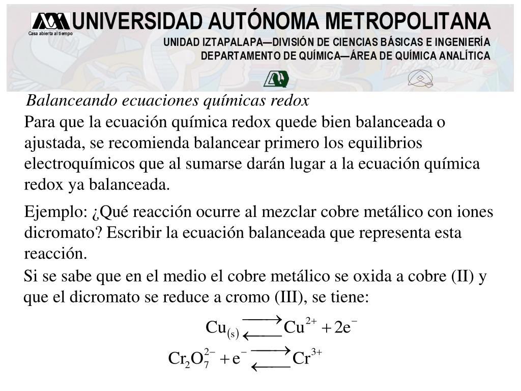 Balanceando ecuaciones químicas redox