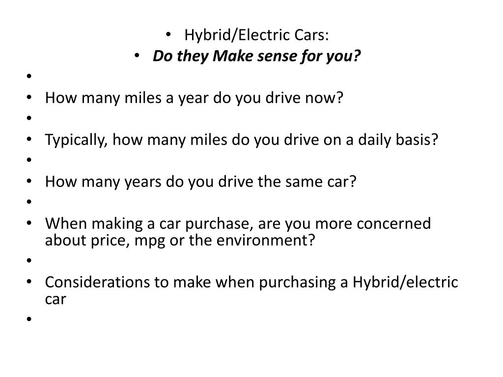 Hybrid/Electric Cars: