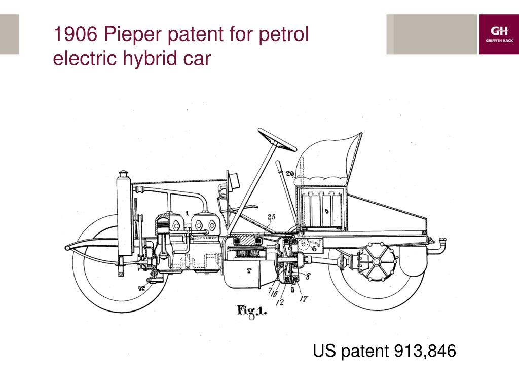 1906 Pieper patent for petrol electric hybrid car