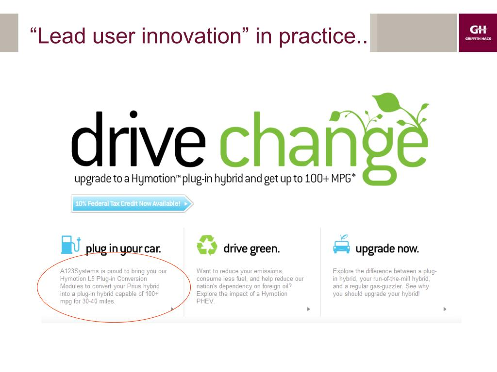 """""""Lead user innovation"""" in practice.."""