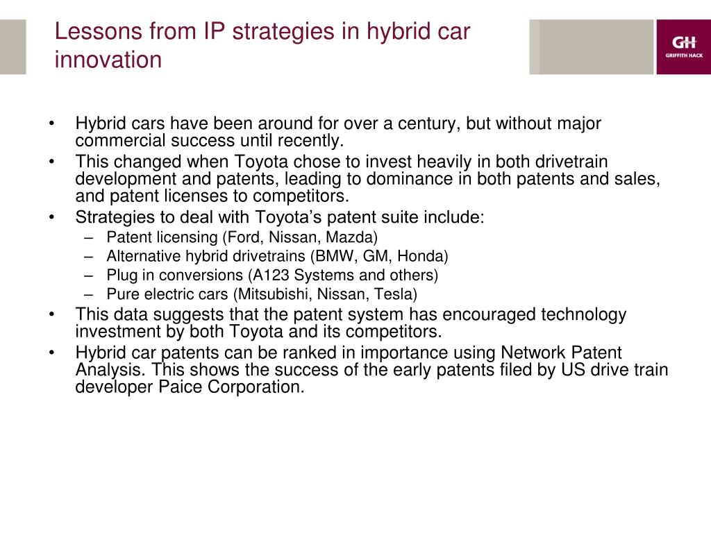Lessons from IP strategies in hybrid car innovation