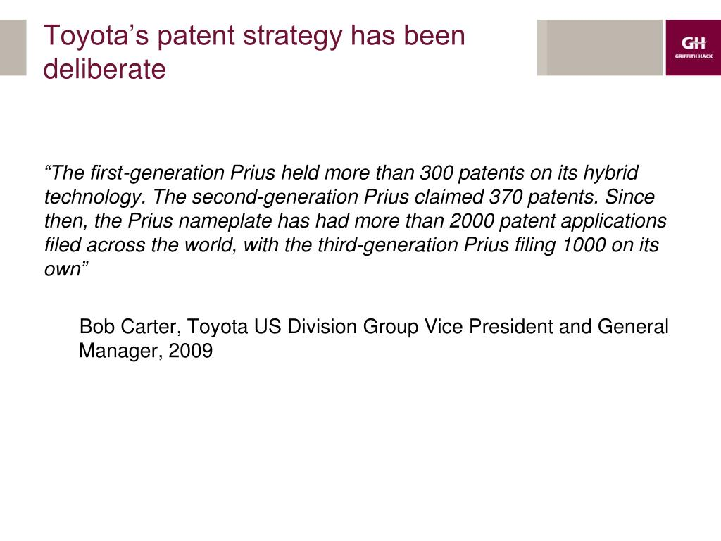 Toyota's patent strategy has been deliberate