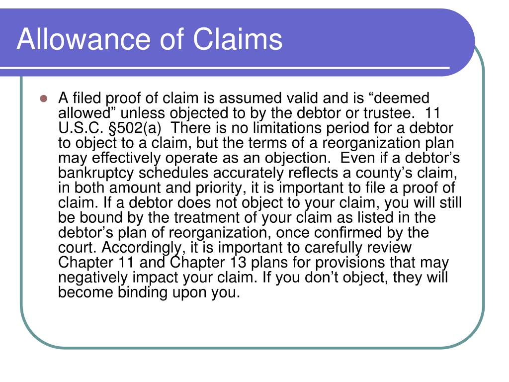 Allowance of Claims