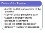 duties of the trustee