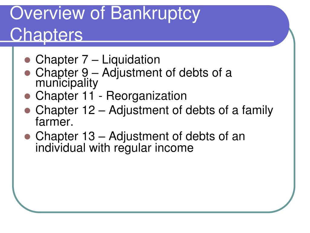 Overview of Bankruptcy Chapters