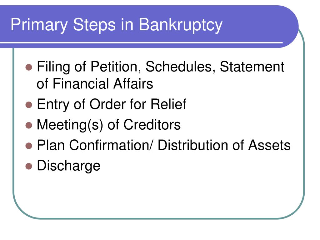 Primary Steps in Bankruptcy