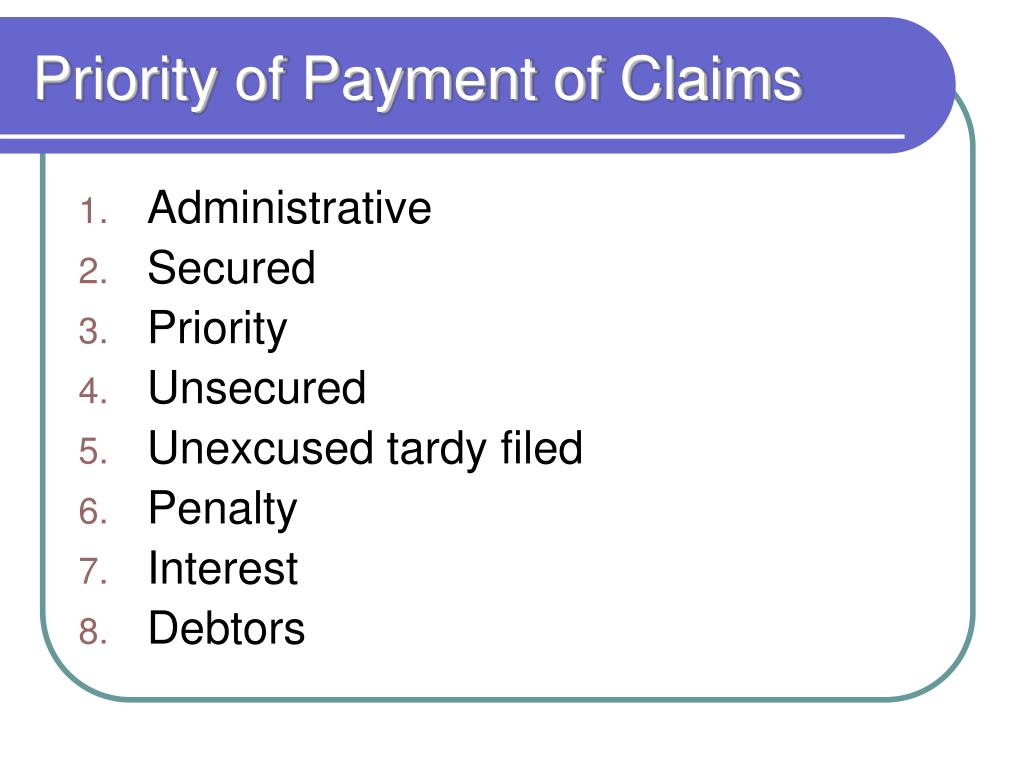 Priority of Payment of Claims