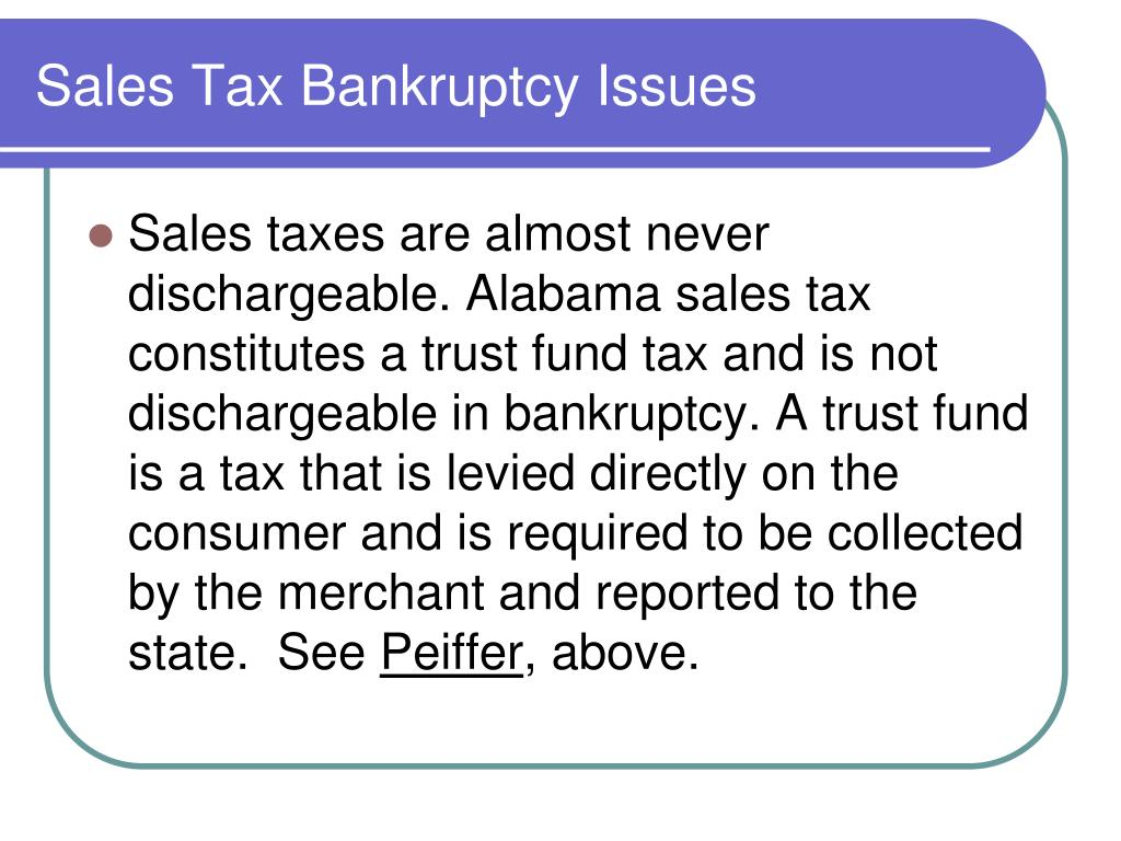 Sales Tax Bankruptcy Issues