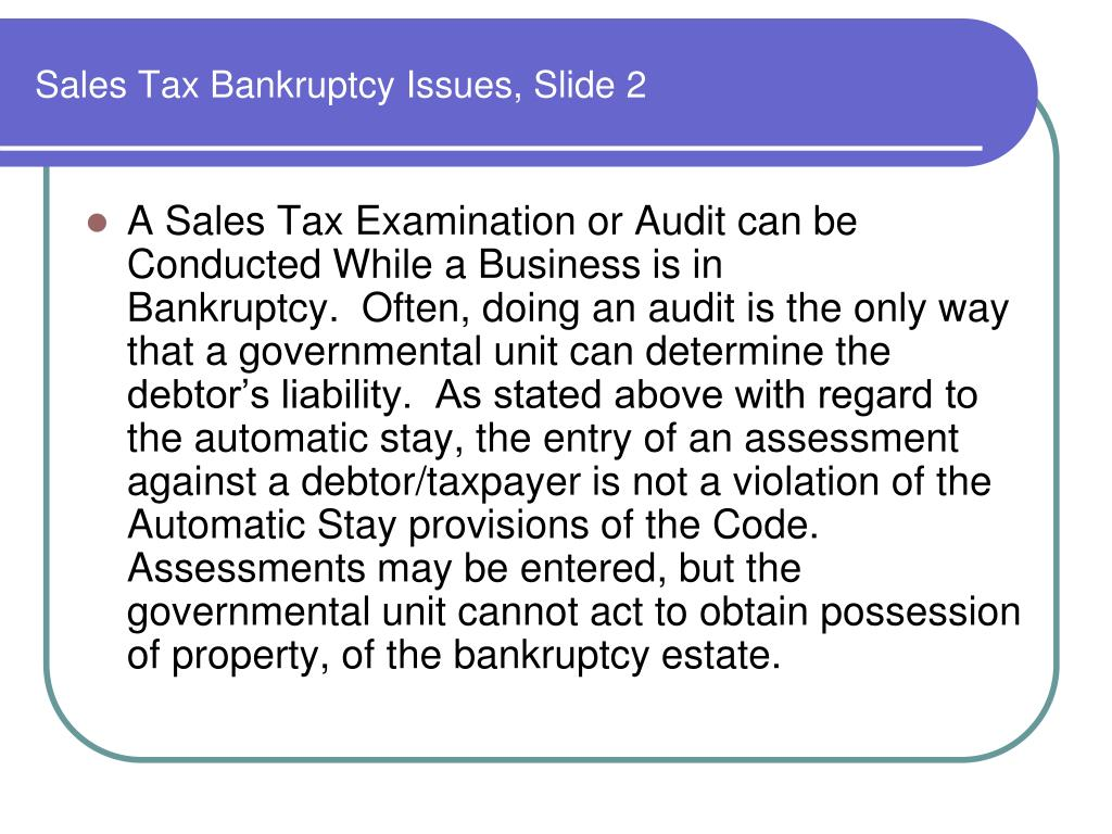 Sales Tax Bankruptcy