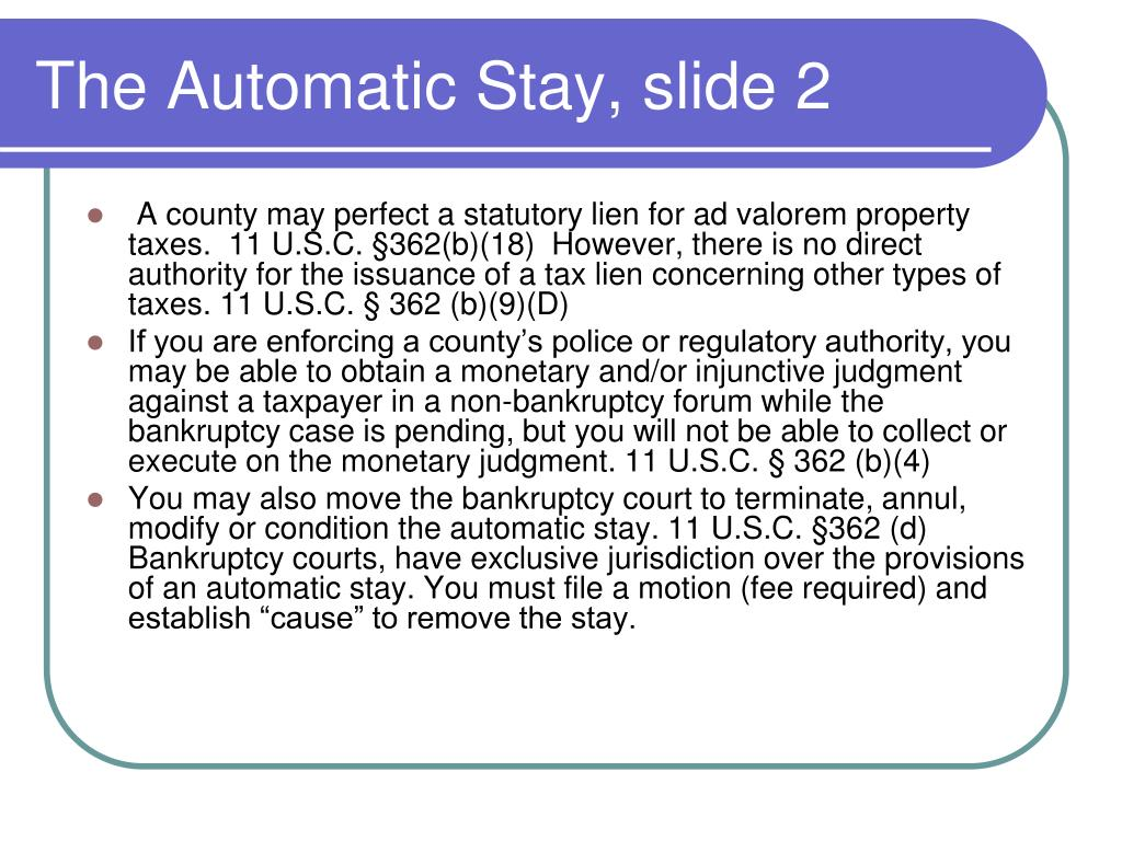 The Automatic Stay, slide 2