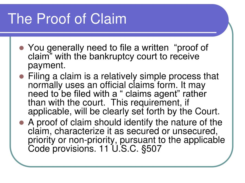 The Proof of Claim