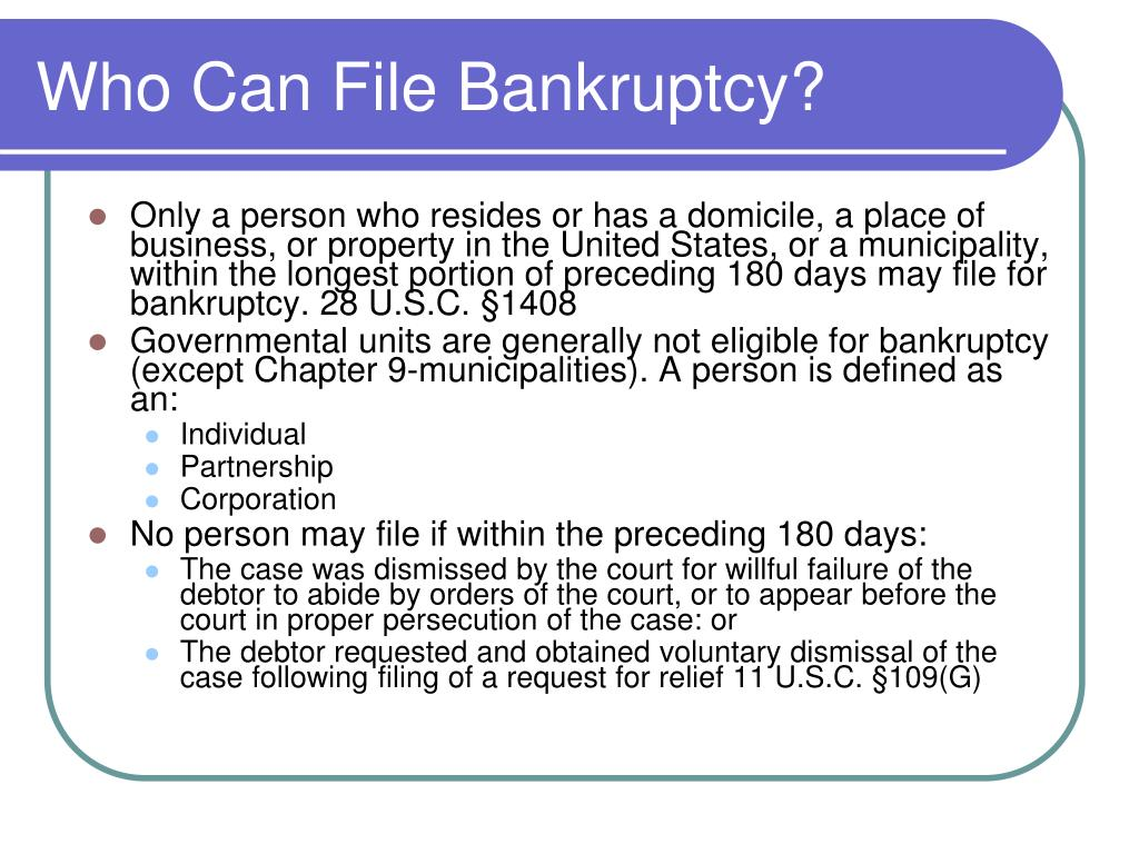 Who Can File Bankruptcy?