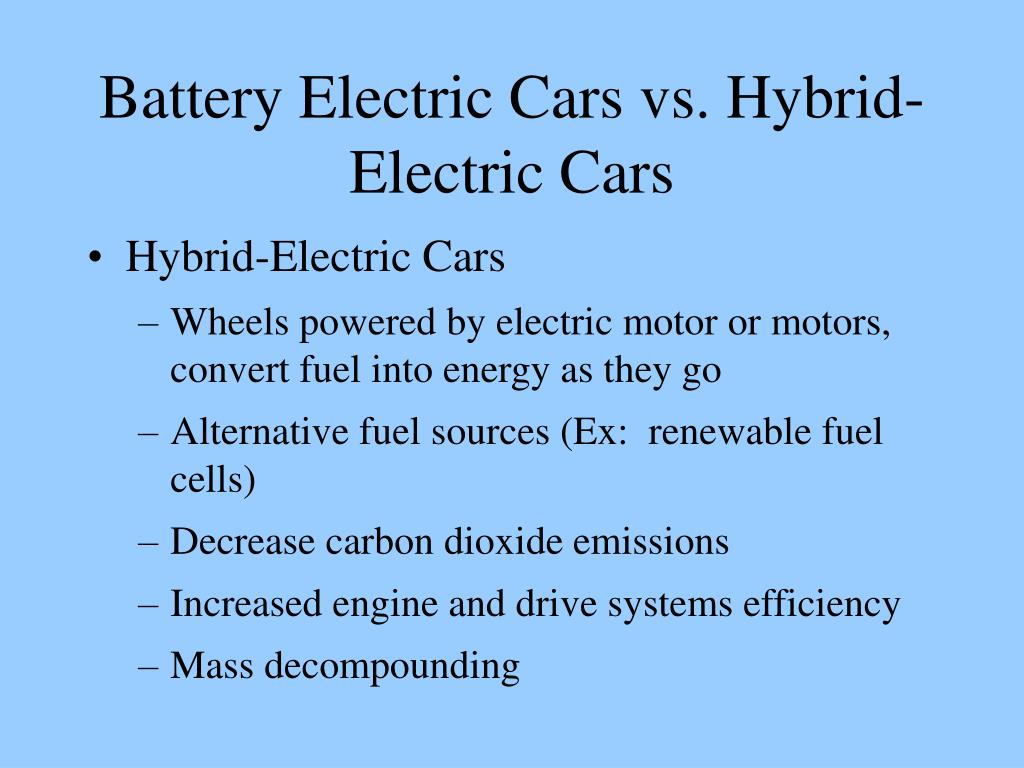 Battery Electric Cars vs. Hybrid-Electric Cars
