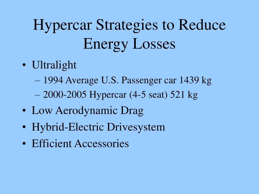 Hypercar Strategies to Reduce Energy Losses