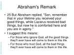 abraham s remark