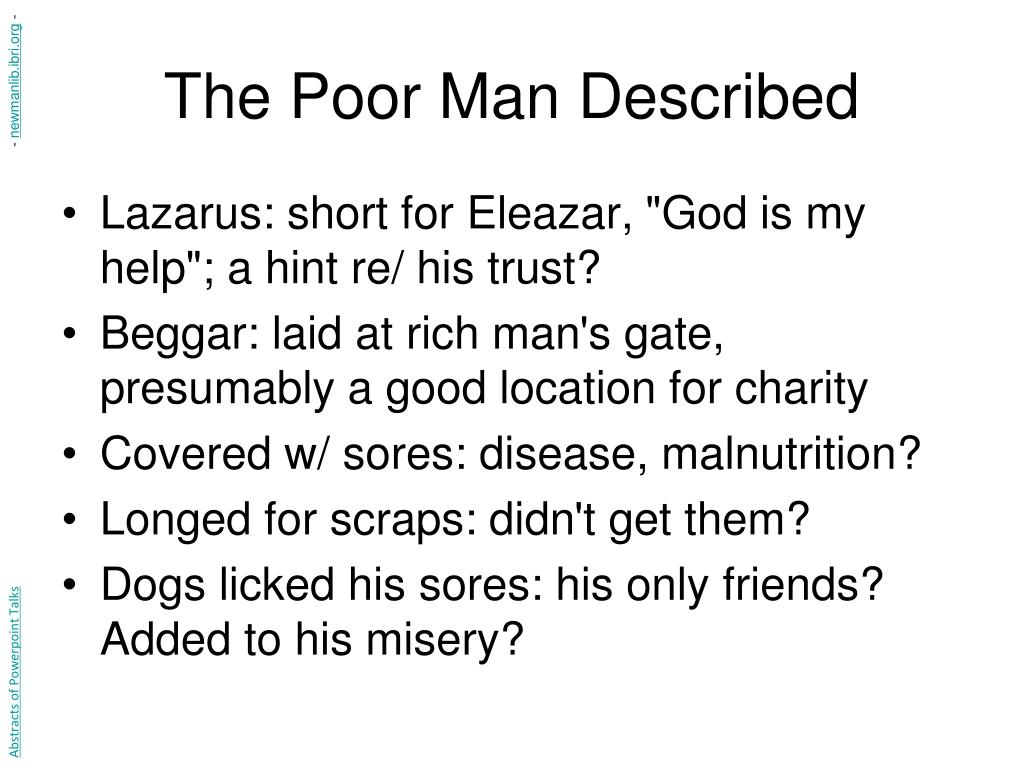 The Poor Man Described