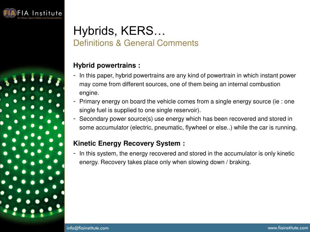 Hybrids, KERS…