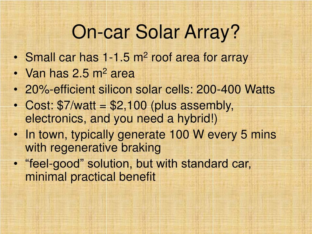 On-car Solar Array?