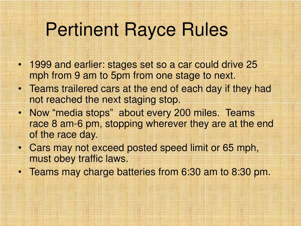 Pertinent Rayce Rules