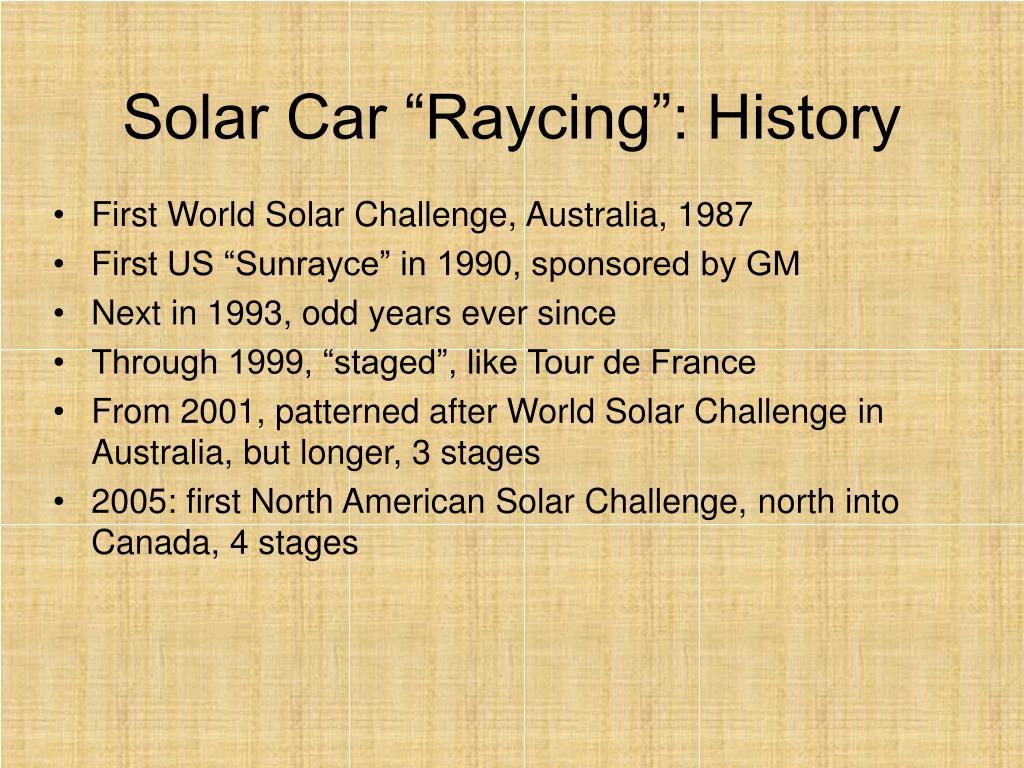 "Solar Car ""Raycing"": History"
