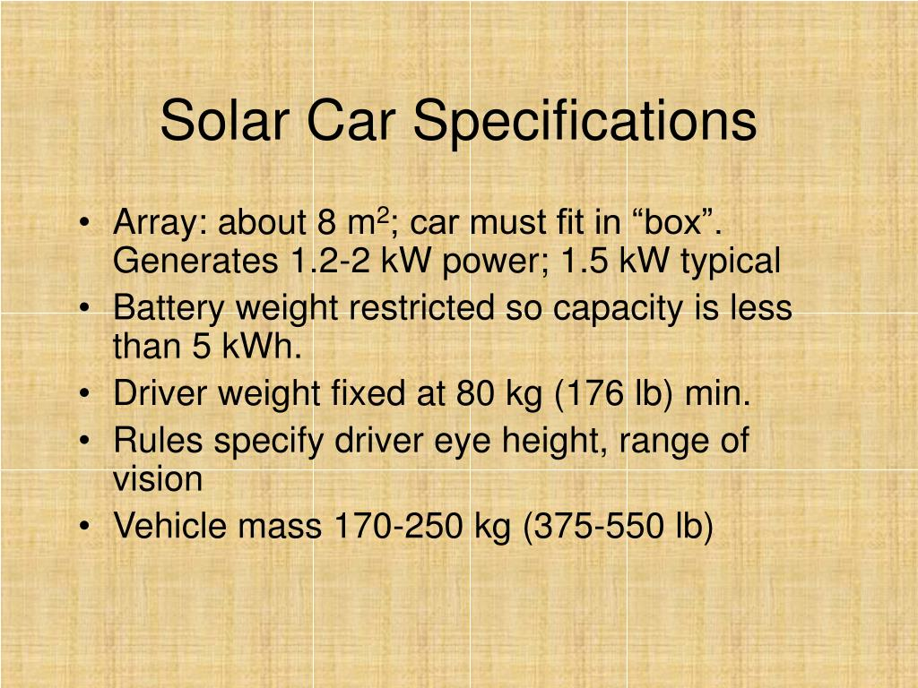 Solar Car Specifications