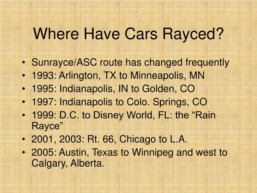 Where Have Cars Rayced?