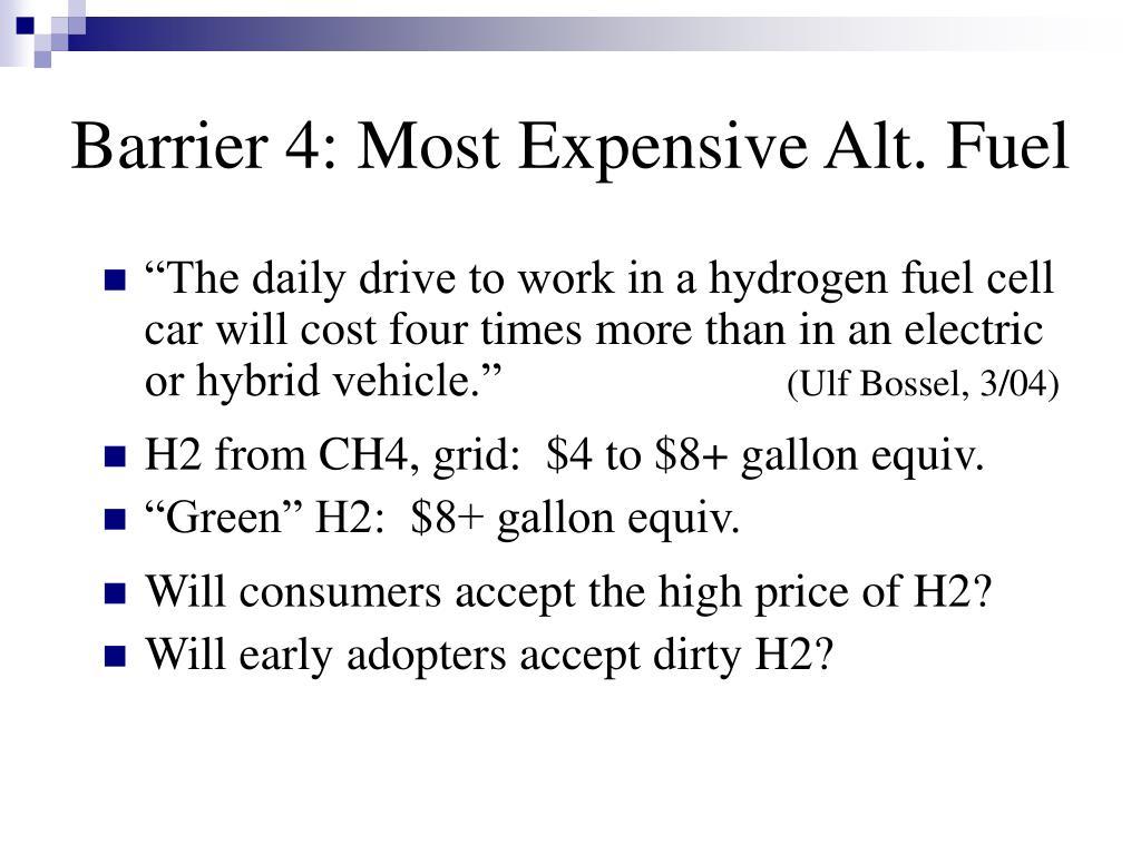 Barrier 4: Most Expensive Alt. Fuel