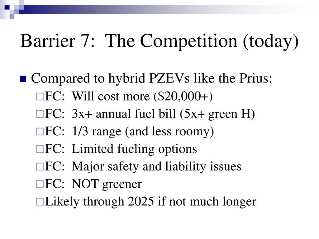 Barrier 7:  The Competition (today)