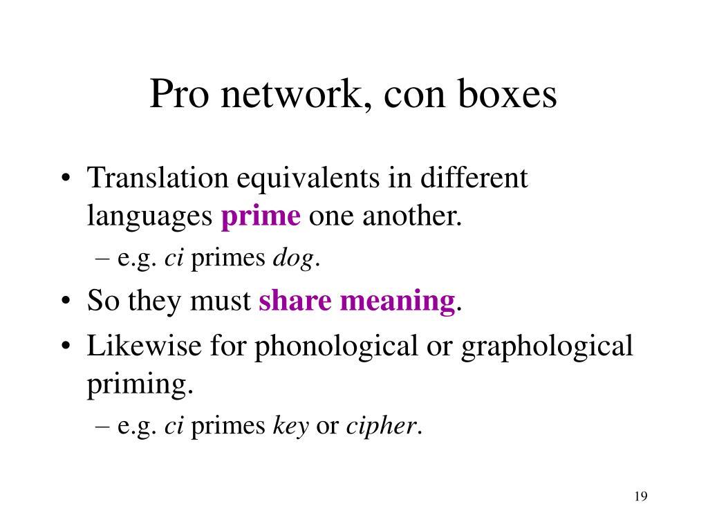 Pro network, con boxes