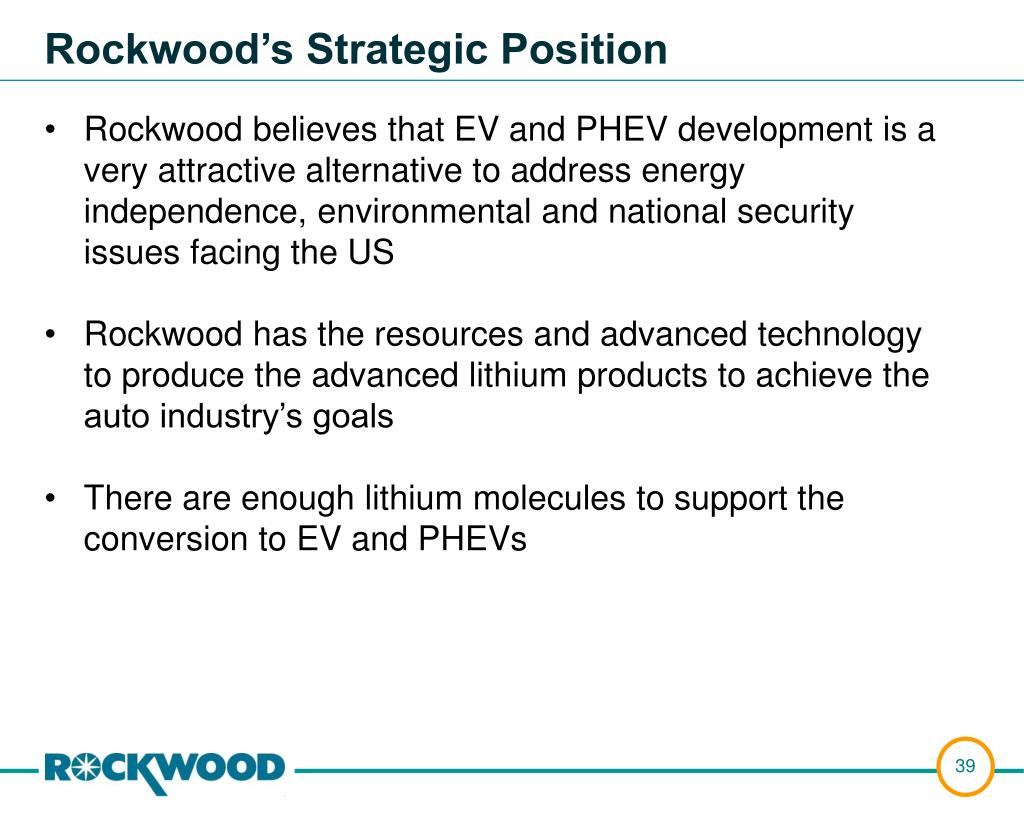 Rockwood believes that EV and PHEV development is a very attractive alternative to address energy independence, environmental and national security issues facing the US