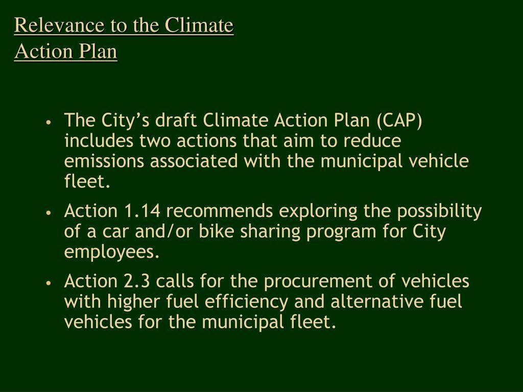 Relevance to the Climate Action Plan