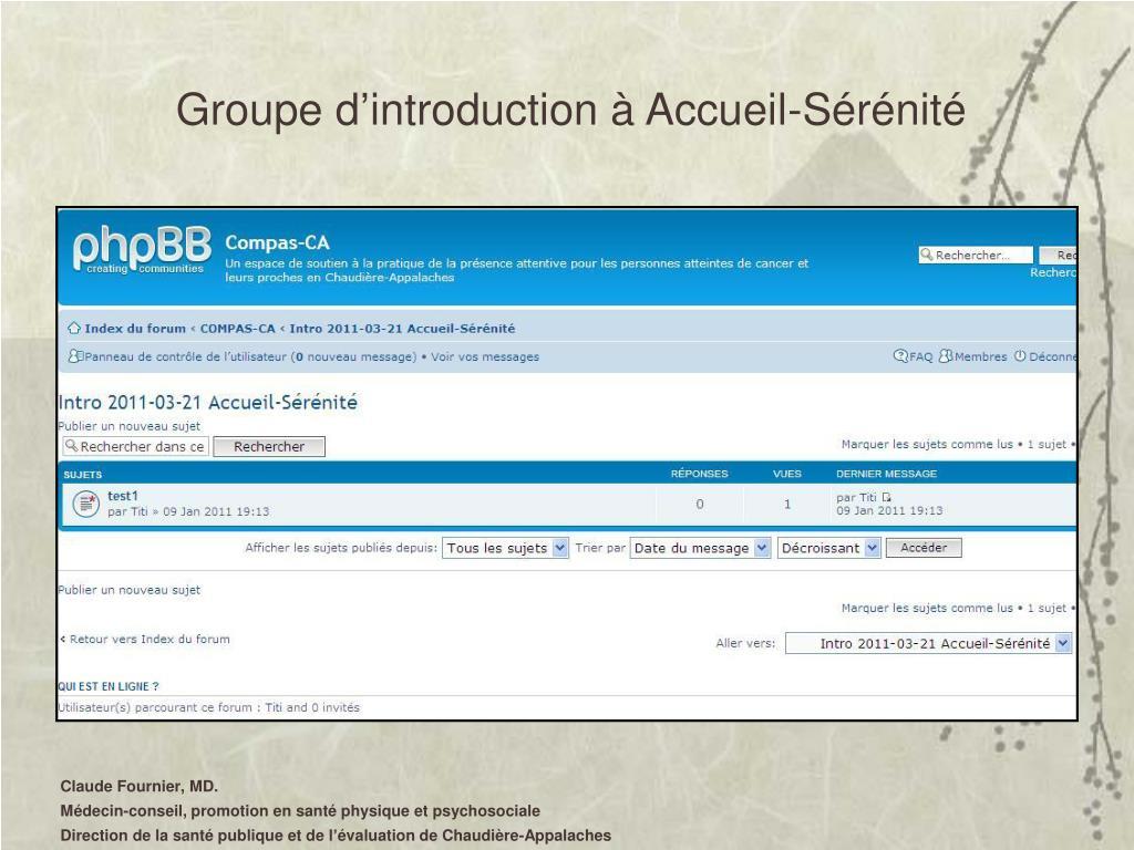 Groupe d'introduction à Accueil-Sérénité