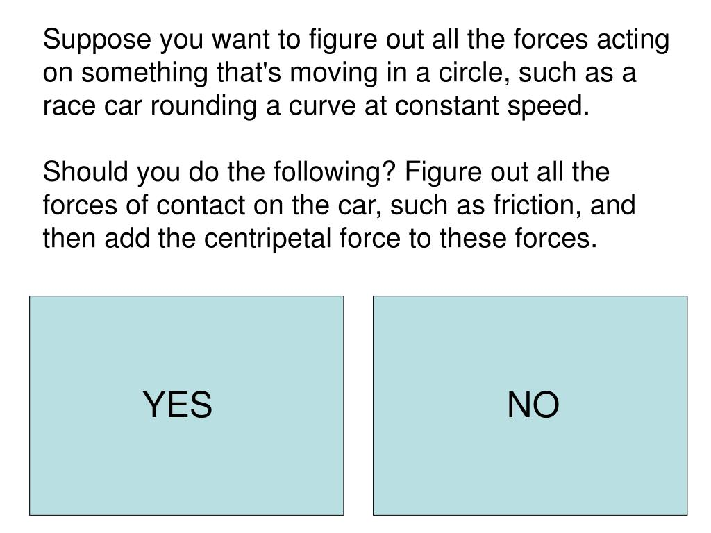 Suppose you want to figure out all the forces acting on something that's moving in a circle, such as a race car rounding a curve at constant speed.