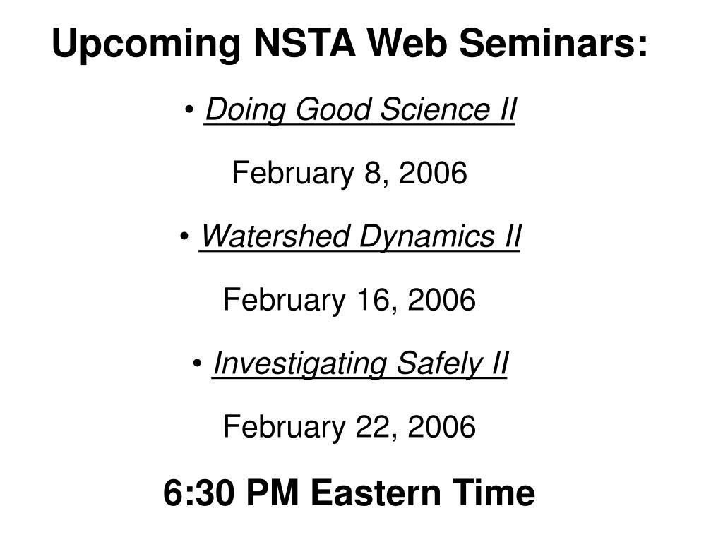 Upcoming NSTA Web Seminars: