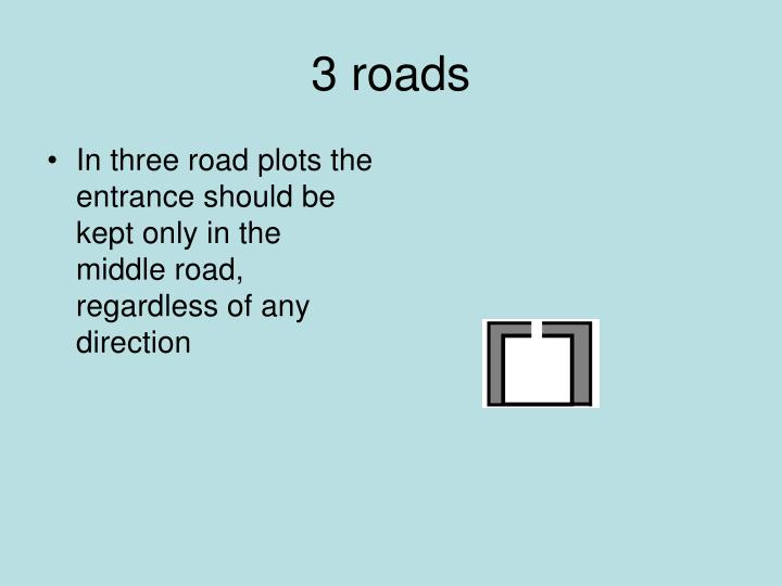 In three road plots the  entrance should be kept only in the middle road, regardless of any direction