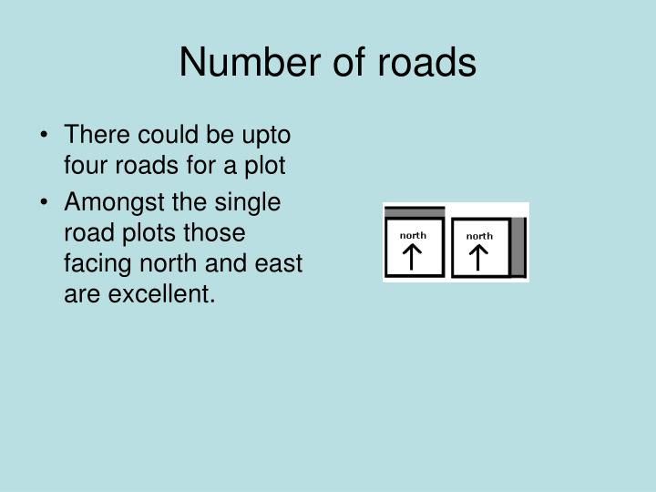 There could be upto four roads for a plot