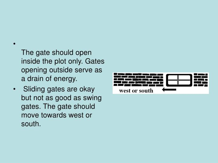 The gate should open inside the plot only. Gates opening outside serve as a drain of energy.