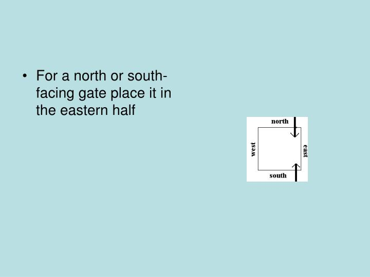 For a north or south-facing gate place it in the eastern half