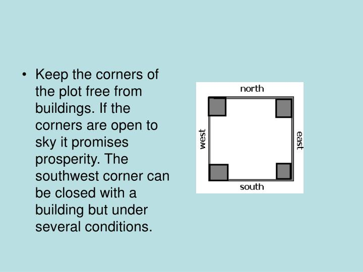 Keep the corners of the plot free from buildings. If the corners are open to sky it promises prosperity. The southwest corner can be closed with a building but under several conditions.