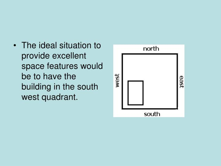 The ideal situation to provide excellent space features would be to have the building in the south west quadrant.