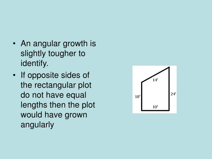 An angular growth is slightly tougher to identify.